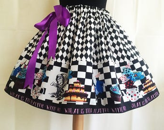 Mad Hatter Costume, Skirt, Fantasy Clothing, fantasy skirts,Mad hatters Tea Party skirt, Alice In Wonderland Skirt By Rooby Lane