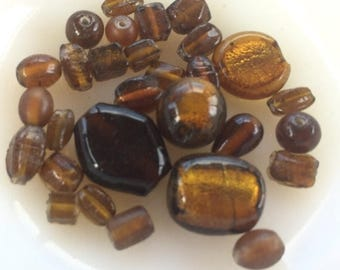 SUMMER SALE Destash  Craft Lot of   Salvaged Lampwork Brown Glass   Beads