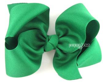"Extra Large Hair Bow, 6"" Emerald Kelly Green Hair Bow, Girls Hair Bows 6 inch hair bows, big bow, giant bow, extra large bow, jumbo xl"