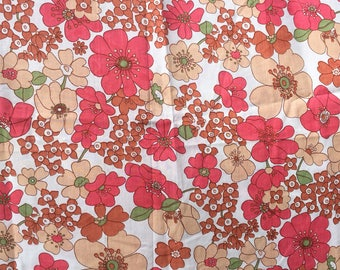 Unused Vintage 60s 70s Pink Flower Power Single Flat Sheet and Pillowcase