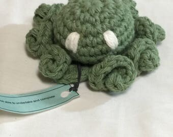 Ready to ship Crochet cotton amigurumi sage green octopus stuffed toy