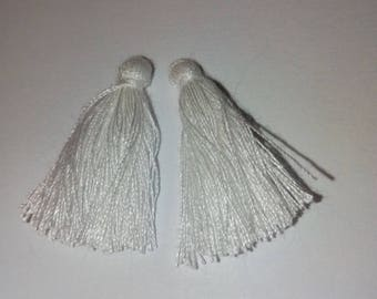 2 white 3cm tassels
