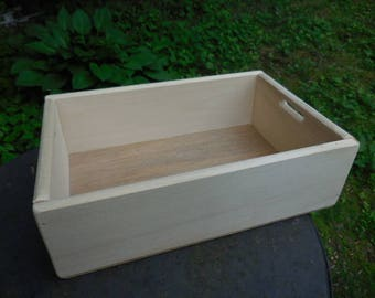 Unfinished Wood Crate/Tray/Box Small with Cutout Holes on Side Crafts Paintable Stainable Storage Supply Crafting