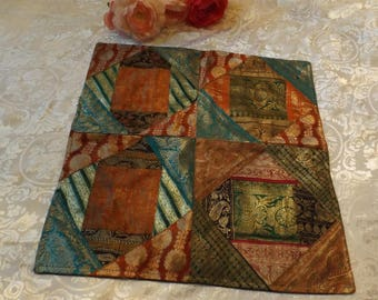 """Quilted sparkling Pillowcase, sham,15.5"""" x 15.5"""" for home decor, vintage, gift idea  New old stock"""