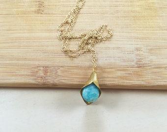 Amazonite Mid-length Petal Necklace