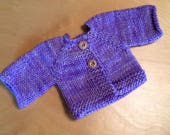 Sweater for 15-inch Waldorf Doll  Hand Knit Cardigan Sweater for Waldorf Dolls  **Periwinkle**
