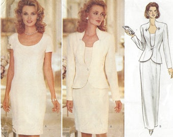 90s Rimini Womens Evening Jacket and Princess Seam Dress Mother of the Bride Butterick Sewing Pattern 4432 Size 18 20 22 Bust 40 42 44 FF