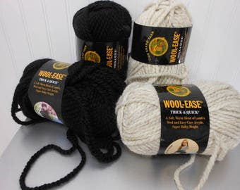 4 Wool Ease Thick & Quick Lion Brand Yarn BLACK #153 WHEAT #402 Acrylic Wool 6 OZ Skeins