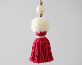Boho Pom Pom Tassel. Large handcrafted Key Chain. Pink, Ivory. Pom Pom Zipper Charm, Bag Charm. Tassel decor accessory.