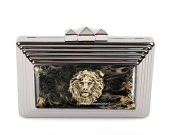 Lion Head Clutch Purse Inlaid in Hand Painted Enamel Evening Bag Neo Victorian Leo Purse with Color and Personalized Options