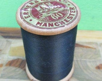 Large Vintage Wooden Reel of Black Shoe Thread ~ 2 Oz Spool ~ Ermen & Roby of Manchester