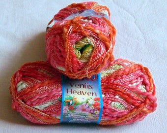 Nako Venus Cotton Yarn Boucle yarn, Hupoallergenic yarn. Summer yarn. Red yellow melange(72188). Eq