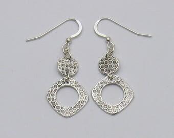 Silver Geometric Dangle Earrings, Long Geometric Earrings, Long Silver Earrings, Long Sparkly Earrings, Casual Earrings, Elegant Earrings
