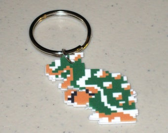 Classic Bowser - Super Mario Bros. 8 bit - Keychain, Necklace, Earrings, Charm
