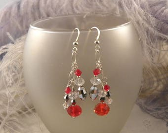 Red and Silver Cluster Earrings