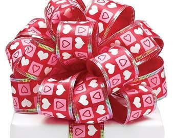 "1.5"" wired ribbon, Pink and White Hearts on red, Valentine Ribbon,Use for Wreath~Wedding~Arrangement-Scrap-booking~Burton and Burton~"