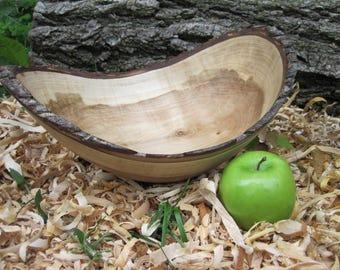 """Natural Edge Red Maple Bowl 13"""" Wood Bowl Hand Turned Wood Bowl Live Edge Wood Bowl Maple Wood Bark Dough Bowl Rustic Wood Food Bowl"""