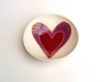 Ceramic Pottery Bowl Dish: Handmade stoneware pottery dish ruby heart