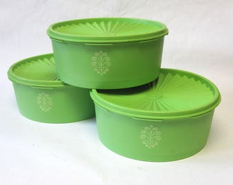 Green Tupperware Containers Set of 3 Canisters Kitchen Storage