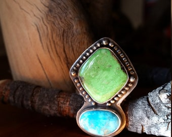 Gaspeite and Turquoise Two Stone Ring