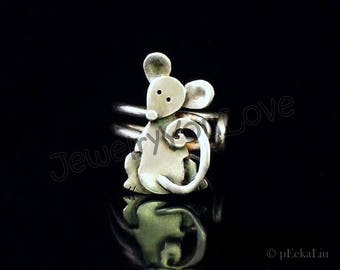 Sterling Silver Mouse Ring - Molly