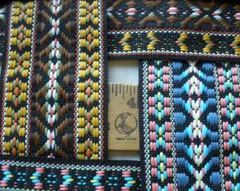 """Embroidered Tribal Jacquard  2"""" wide 5 CM make Guitar Strap Gold Brown or Pink Blue on Black ribbon BTY yards embellish belt shirt bag"""