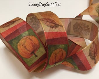 Wired Fall Ribbon, Rust, Gold, Orange, Brown, Acorns,  Pumpkins, 3 YARDS, 1.5 inch wide, Harvest, Fall Ribbon, Halloween, wreath, bows