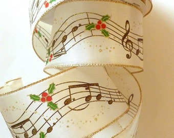 SALE, Christmas Music Ribbon, Musical Notes, Music, Wide Wired Ribbon, Ivory and Gold, Holly Berries, 4 YARDS, 2.5 in. wide, Christmas Music