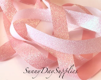 Pink or White Glitter Ribbon, with Bright Iridescent sparkle, 5 YARDS, 7/8 in. wide, Baby Theme, Weddings, Showers, Easter, Gift Wrap Ribbon
