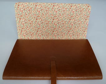 Larger Leather Sketchbook Leather Journal Leather Book. Golden Tan Leather with a Floral Decorative Paper Lining.