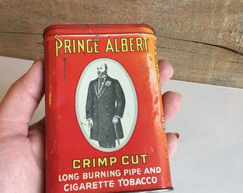 Prince Albert cigarette tobacco tin. Vintage tobacco tin.