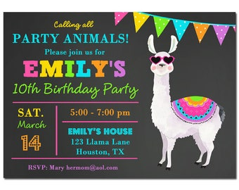 Llama Invitation Printable - Birthday, Rehearsal Dinner, Wedding - Llama Collection