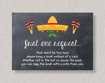 Book Request Card, Baby Shower Book Request Card, Fiesta Baby Shower, Fiesta Gender Reveal, Fiesta Book Request Card