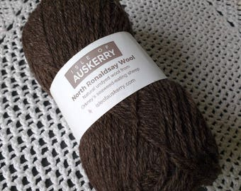North Ronaldsay Aran Wool Peat Black Aran Weight Pure Knitting Wool Isle of Auskerry Crochet Yarn