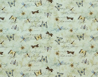 Susan Winget Fabric, Butterfly Fabric, By The Yard, Dragonflies Collection, Quilting Sewing Fabric, Dragonflies Fabric, Bug Novelty Fabric