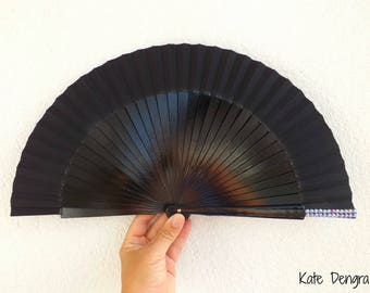 Black with Purple Bling SIZE OPTIONS Hand Painted by K Dengra Eventail Abanico Facher Wooden Hand Fan Flamenco Spanish