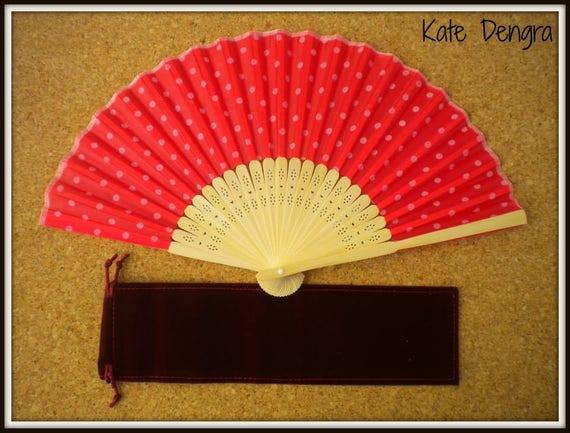 Red Polka Dot Lightweight Bamboo Hand Fan Budget Price Folding Fan from Spain