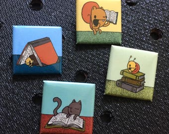 reading pins, books pins, square pins, 1 inch pin, gift for book lovers, gift for readers