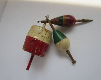 Vintage Fishing tackle cork and wooden bobbers