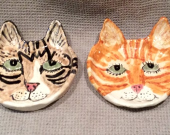 Custom Cat Dish handmade in the US from  a lump of clay.