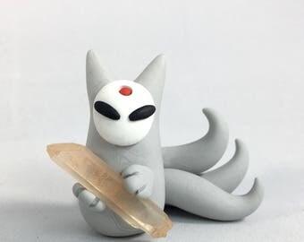 Quartz Kitsune Totem Sculpture