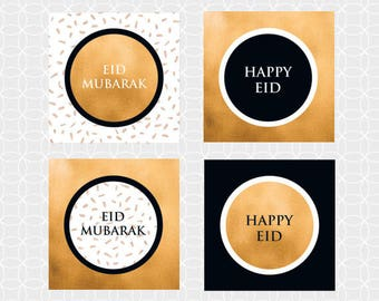 "DIY EID Mubarak 2"" Party Circles, Cupcake toppers - Instant Download - black and gold, Eid Decor, Eid Party supplies, Eid printables"