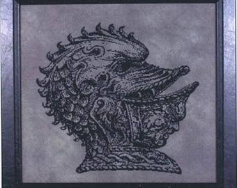 OOP Knightmare cross stitch pattern by Courtney Collection Halloween scary monochromatic