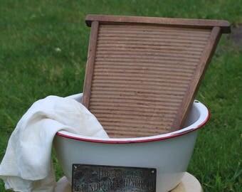 Vintage Enamelware Wash Basin with Red trim edge