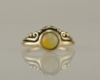 R1119- 14ky Gold Ethiopian Opal Ring- One of a Kind