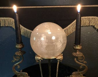 Mesmerizing Large Old Stone Crystal Ball on Vintage Hoofed Ram Head Stand at Gothic Rose Antiques