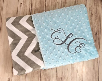 Monogrammed Baby Blanket  - Chevron Minky Gray and Robin's Egg Blue Personalized - Aqua Soft Baby blanket with name Newborn