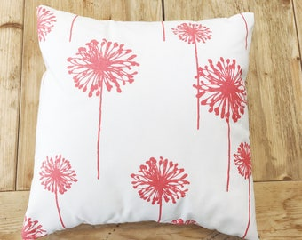 "Coral Dandelion Pillow Cover - 14"" x 14"""