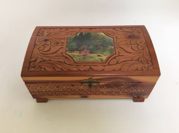 Vintage Wooden Carved Jewelry Box