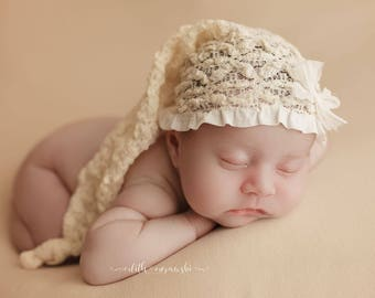 Newborn Cream Stretch Lace Sleep Hat, Baby Girls Elf Hat Photography Prop, Girls Lace Sleep Cap, Baby Stretch Stocking Hat, Knotted Elf Hat